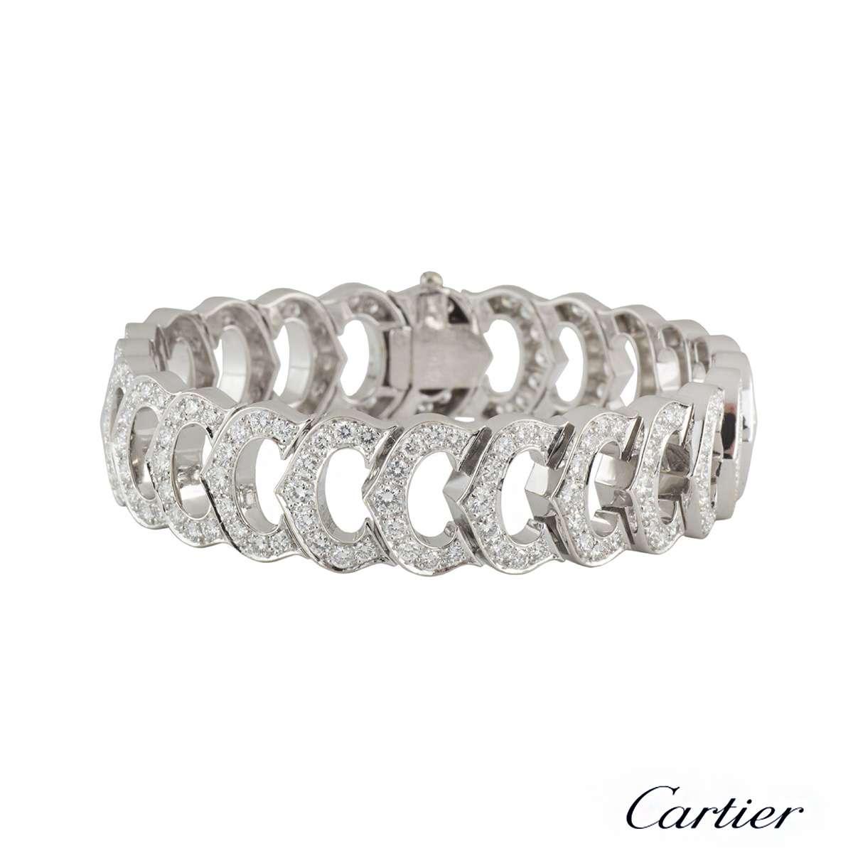 cartier c de cartier diamond bracelet and hoop earrings